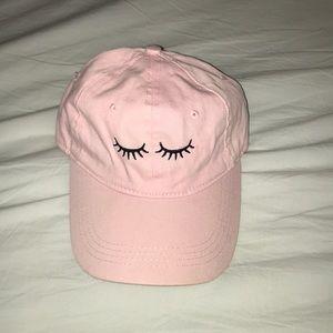 Pink eyelash baseball cap